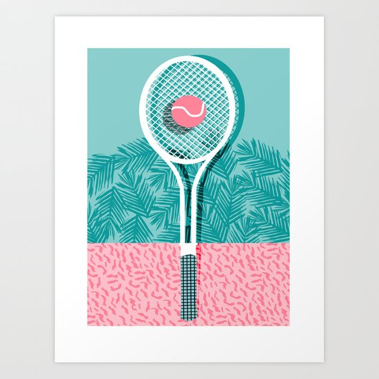 Good to go - memphis throwback 1980s neon pastel abstract sports tennis racquetball athlete game  Art Print