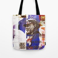 soviet Tote Bags featuring Soviet times by LuzGraphicStudio