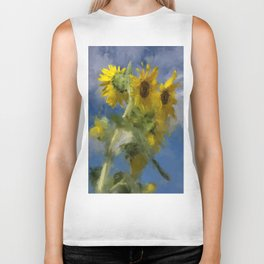 An Impression Of Sunflowers In The Sun Biker Tank