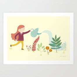 Watering the plants Art Print