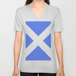 flag of scotland 4– scotland,scot,scottish,Glasgow,Edinburgh,Aberdeen,dundee,uk,cletic,celts,Gaelic Unisex V-Neck