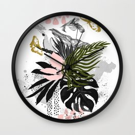 Bird in abstract nature Wall Clock