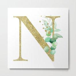 Letter N Monogram Metal Print