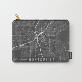 Huntsville Map, Alabama USA - Charcoal Portrait Carry-All Pouch