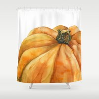 pumpkin Shower Curtains featuring Pumpkin by Cindy Lou Bailey