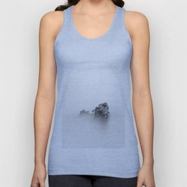 Isolated rock in a mist of sea Unisex Tank Top