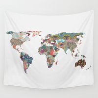 world maps Wall Tapestries featuring Louis Armstrong Told Us So by Bianca Green