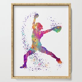 Girl Baseball Player Softball Pitcher Colorful Watercolor Sports Artwork Serving Tray