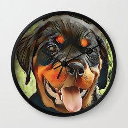 Chubby Rottweiler Puppy Wall Clock