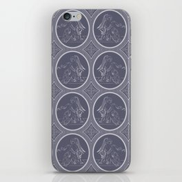 Grisaille Charcoal Blue Grey Neo-Classical Ovals iPhone Skin