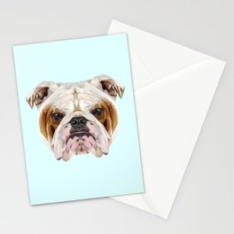 English Bulldog // Pastel Blue Stationery Cards