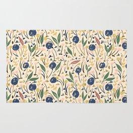 Pale Ditsy Rose Meadow Floral Pattern Rug