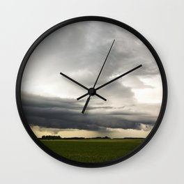 Shelf Cloud Over a Soybean Field Wall Clock