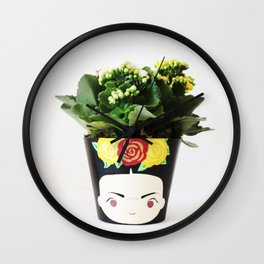 FRIDA KHALO FLOWER POT Wall Clock