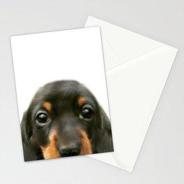 Dachshund baby Dog illustration original painting print Stationery Cards