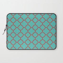 Quatrefoil - Turquoise & Red Laptop Sleeve