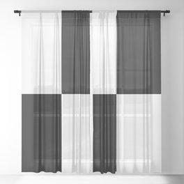 CHECKER (BLACK & WHITE) Sheer Curtain
