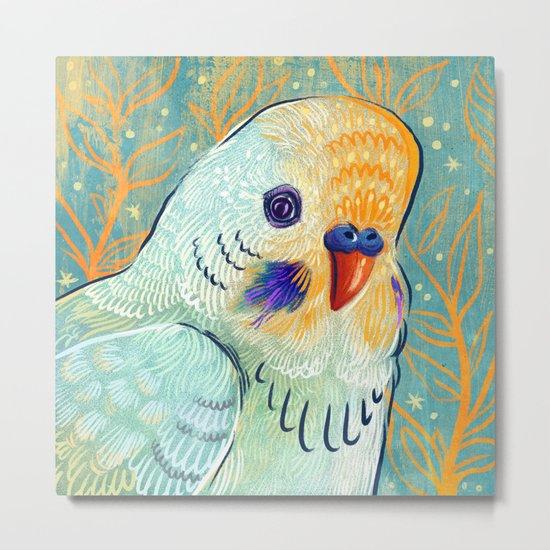 Minty Parakeet Metal Print