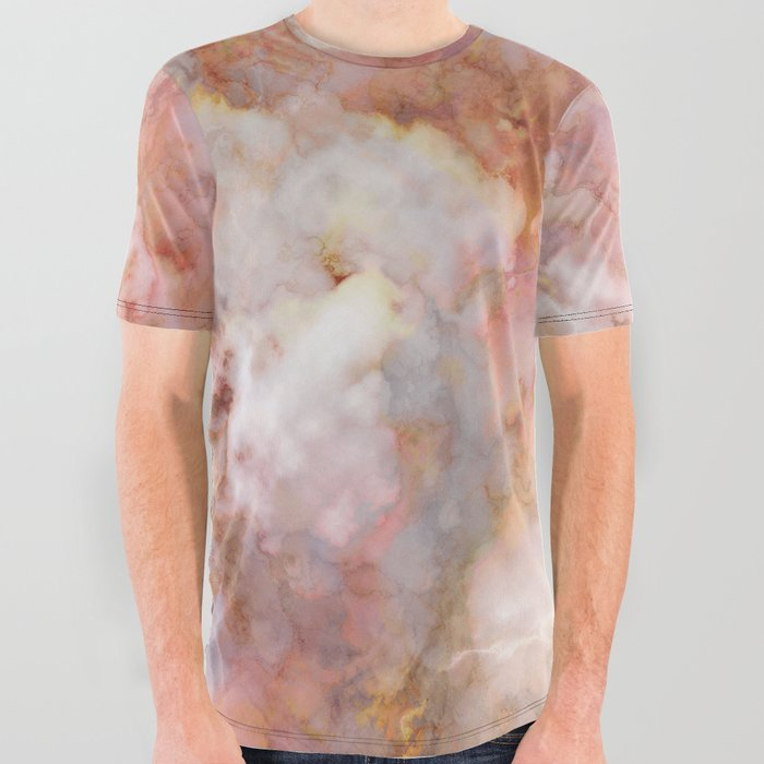269925dd7 Beautiful & Dreamy Rose Gold Marble All Over Graphic Tee by ...