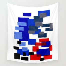 Modern Mid Century Abstract Geometric Cube Square Acrylic Painting Blue With Red Accents Wall Tapestry