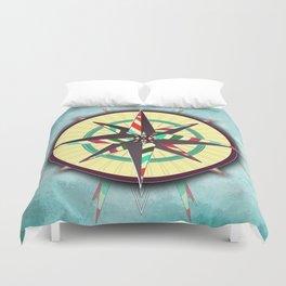 Striped Compass Rose Duvet Cover