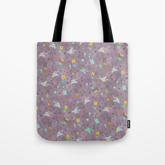 Cat mermaids under the sea. Funny elephant and unicorn kitty. Tote Bag