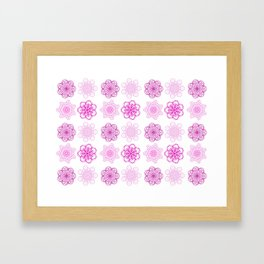 Pretty in Pink, pink geometric flower mandalas Framed Art Print