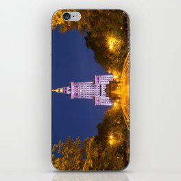 Palace of Culture and Science in Warsaw, Poland at night iPhone Skin