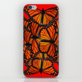 MONARCH BUTTERFLIES INK DRAWING SOCIAL IN RED iPhone Skin
