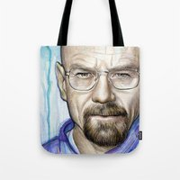 walter white Tote Bags featuring Walter White Portrait by Olechka