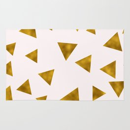 Soft Pink And Rustic Gold Triangles Rug