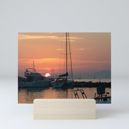 Sunset in a little port in French Riviera Mini Art Print
