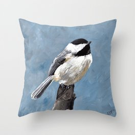 Chickadee Original Acrylic Art on Canvas,Bird Painting, Chickadee Wall Art, Bird on a Branch Throw Pillow
