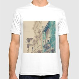 Grunge Summer Town (Retro and Vintage Urban, architecture photography, blue and cream) T-shirt