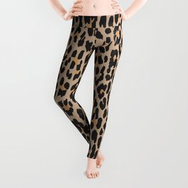 Animal Print, Spotted Leopard - Brown Black Leggings