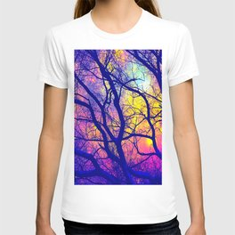Black Trees Deep Bright & Colorful Space T-shirt