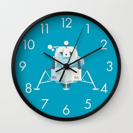 Apollo 11 Lunar Lander Module - Plain Cyan Wall Clock