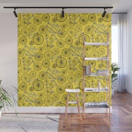 Monochrome Vintage Bicycles On Bright Yellow Wall Mural