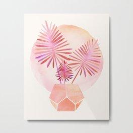 Pink Palms Watercolor Metal Print