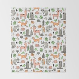 Woodland foxes rabbits deer owls forest animals cute pattern by andrea lauren Throw Blanket