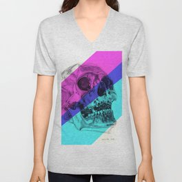 Skull pencil drawing with colour Unisex V-Neck