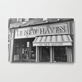 Le New Haven Restaurant - Black and White Version Metal Print