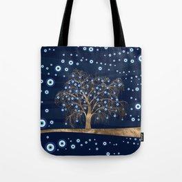 Nazar Charm Tree - Gold on Dark Blue Tote Bag