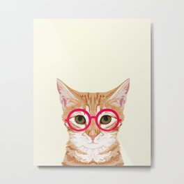 Ginger - Cute cat with glasses hipster cat art for dorm college decor funny cat lady meme Metal Print