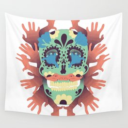 Skull and Hands Wall Tapestry