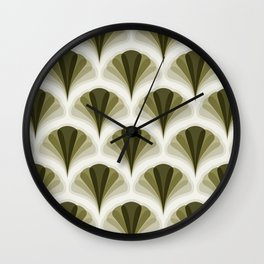 Olive Green and Ivory Retro Peacock Design Pattern Wall Clock