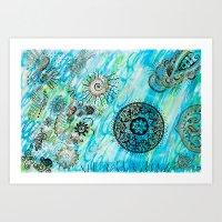 """Lost in de sea"". Ocean Vibes Collection by Indiga Ethnik Art Print"
