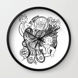 """War Never Changes"" Fallout Fan Art in BLACK AND WHITE. Wall Clock"