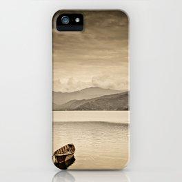 Lone boats on Phewa Lake, Pokhara, Nepal iPhone Case