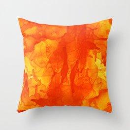 Microcosmos Rojo Throw Pillow